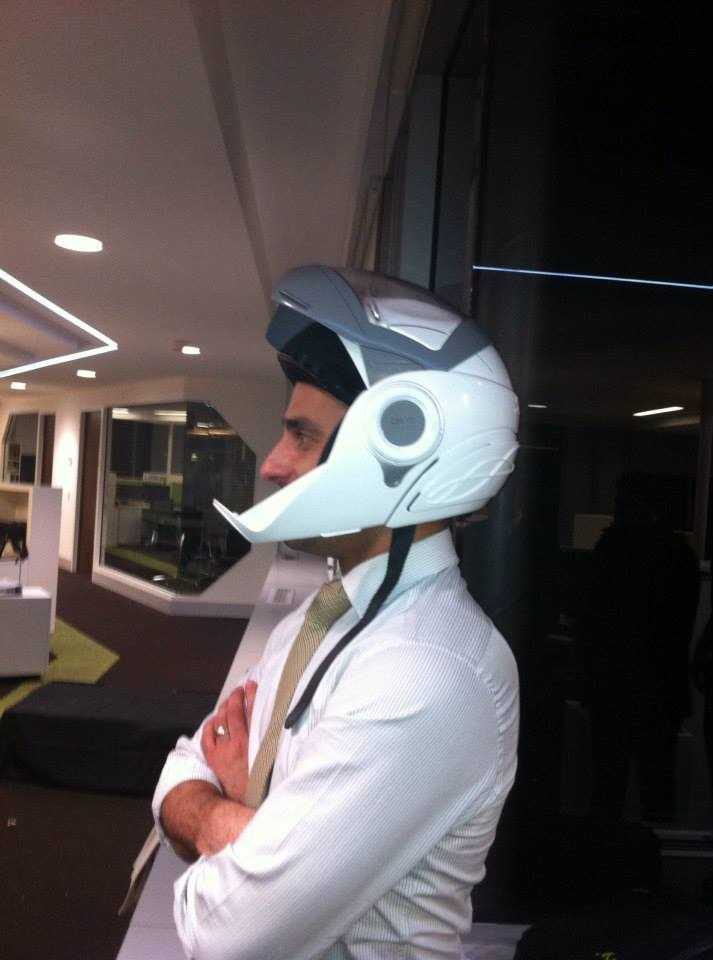 An early prototype of the helmet on show during one of the UNSW Sydney Angel Mixer events hosted by UNSW Innovations