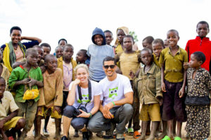 Duncan and his wife Nicola with children of Gitumba who we are building a school for in Rwanda