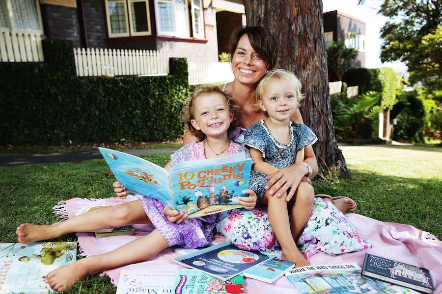 MARCH 03, 2016: Alison Joyce, founder of children's book service 'Nouk', pictured with her daughters Bella and Georgia. (Photo by Braden Fastier / Newsphotos)