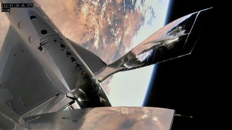 Virgin Galactic space shuttle in space over New Mexico