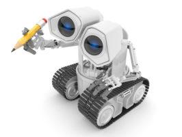 Robot, writing, pencil