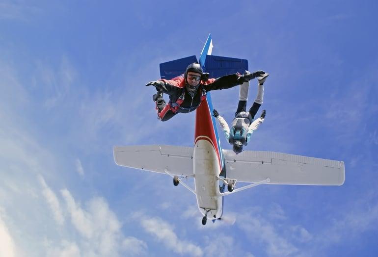 Parachute jump, plane