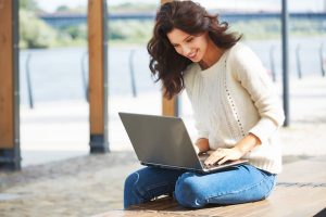 woman, laptop, facebook